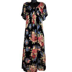 April Cornell Maxi Dress L Black Floral Chiffon